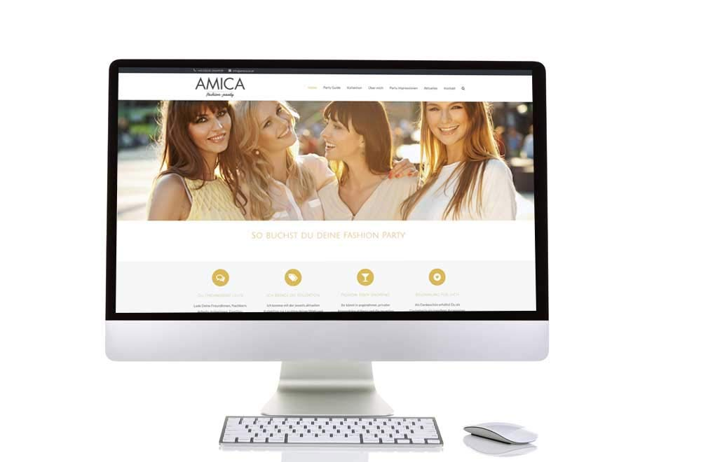 Webdesign Klagenfurt - Webdepartment Portfolio - Wordpress Webseite Amica Fashion Party