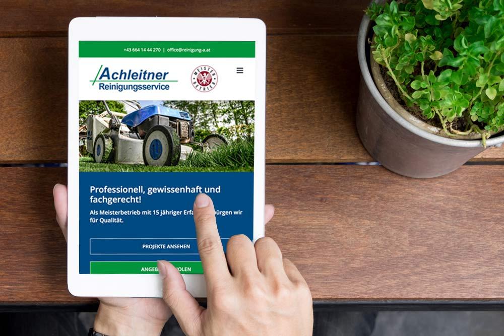 Webdesign Klagenfurt - Webdepartment Portfolio - Neue Webseite für die Firma Achleitner Reinigungsservice