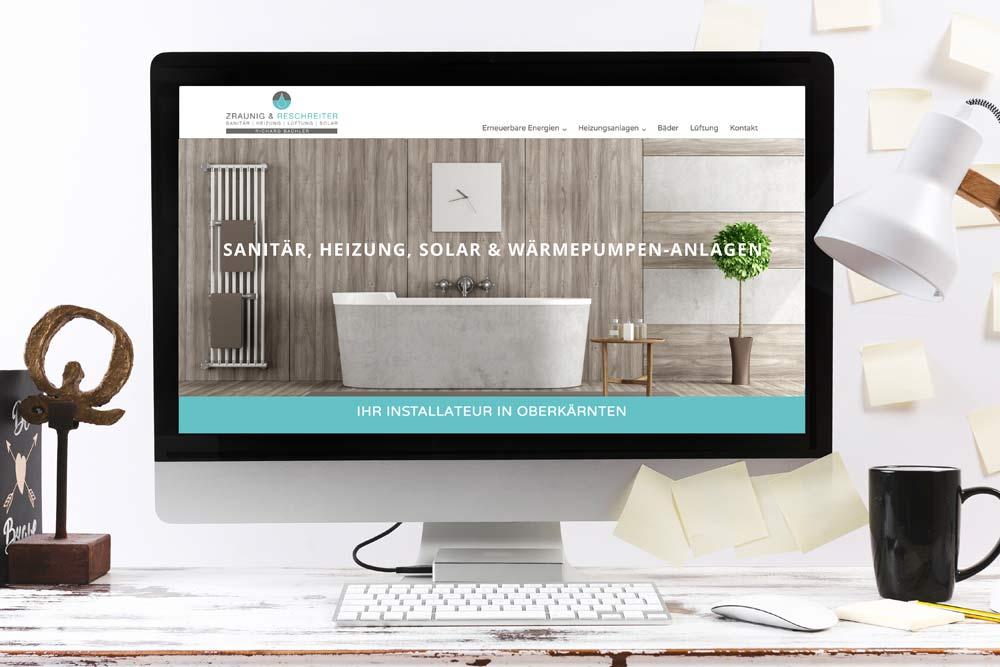 Webdesign Klagenfurt - Webdepartment Portfolio - Neue Webseite für die Oberkärntner Installationsfirma Zrauning und Reschreiter