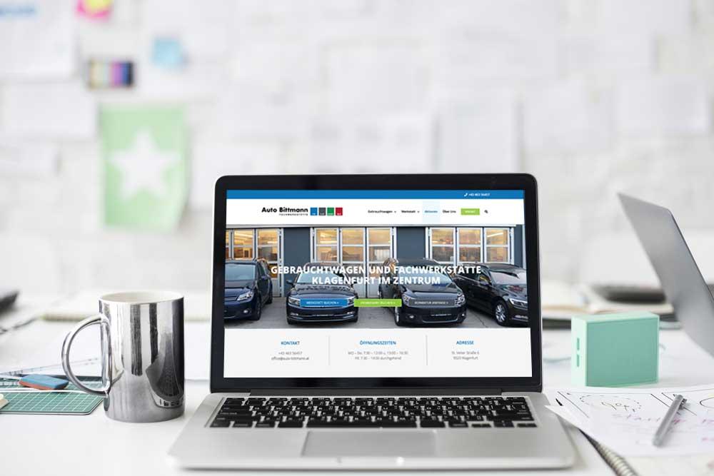 Webdesign Klagenfurt - Portfolio Auto Bittmann - Webseite für das Autohaus Bittmann mit allen Serviceleistungen